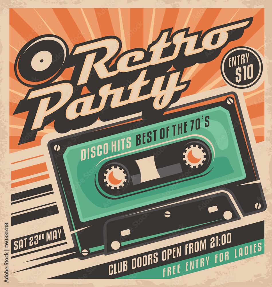 Fototapety, obrazy: Retro party poster design