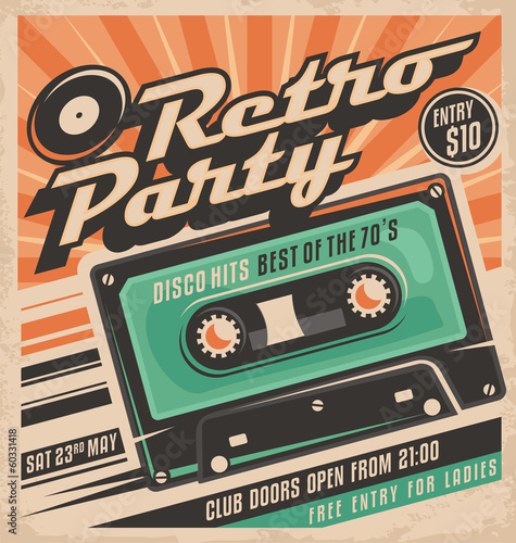 plakat Retro party plakat