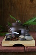 set for a traditional tea drinking (kettle, cups and grain tea)