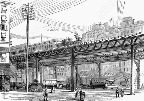 Photographie  New York elevated railway