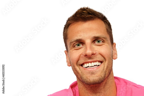 d689f31a Portrait of young man in pink shirt - Buy this stock photo and ...