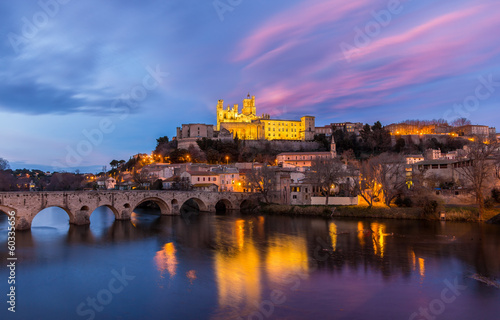Printed kitchen splashbacks Eggplant St. Nazaire Cathedral and Pont Vieux in Beziers, France