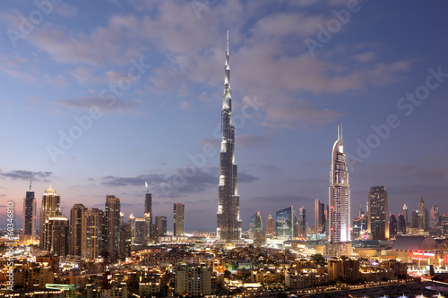 Dubai Burj Khalifa and Dubai Downtown at dusk. United Arab Emirates