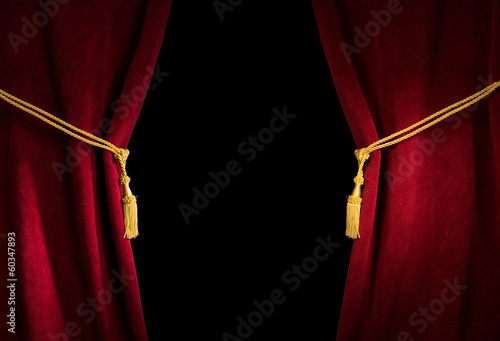 Fotobehang Stof Red velvet curtain with tassel