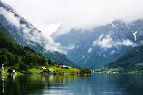 Foto op Aluminium Groen blauw View to Sognefjord in Norway