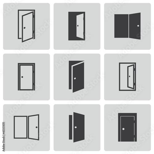 Photo  Vector black door icons set