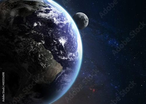 fototapeta na lodówkę Ziemia w przestrzeni. Elementy tego zdjęcia dostarczone przez NASA