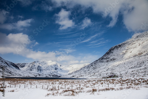 Deurstickers Art Studio Winter Snow around the lakes of Snowdonia