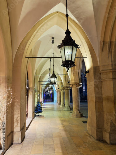 Fototapeta Gothic arcades Sukiennice by night, Krakow, Poland obraz