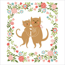 Cute Cats, Valentine Card Or W...