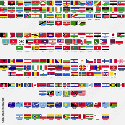 Valokuva  Official flags of the world, collection