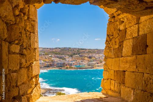 Photo Stands Ship City Rethymno on beach of Island Crete, Greece