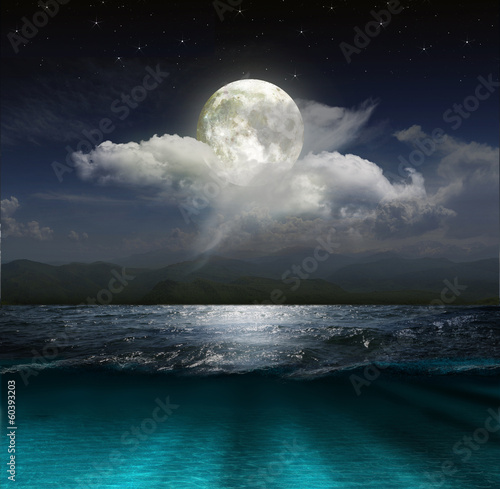 Poster Zee / Oceaan Fantasy landscape - moon, lake and fishing boat