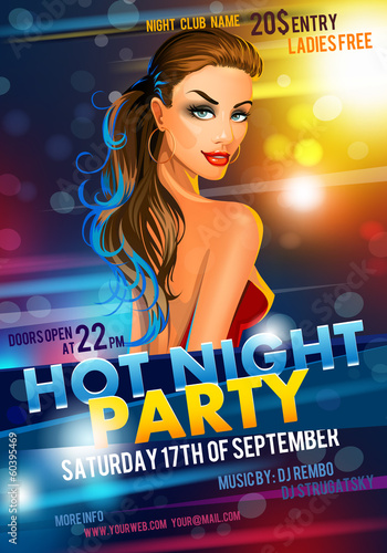 Poster with a hot girl. vector