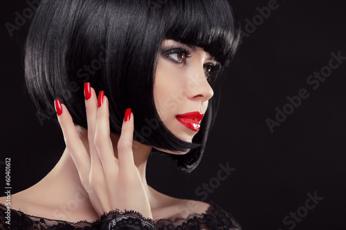 Bob Short Black Hairstyle Manicured Nails And Red Lips Fashion