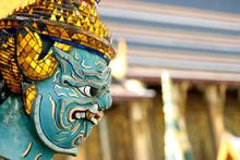Bangkok, Temple Giant Guardian...