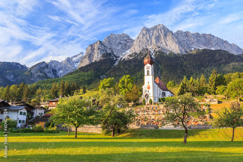 Grainau village and Zugspitze top of Germany