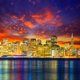San Francisco sunset skyline California bay water reflection