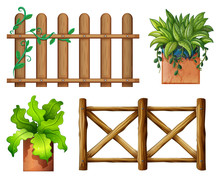 Wooden Fence And Potted Plants