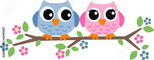 Foto op Plexiglas Uilen cartoon two sweet owls header picture