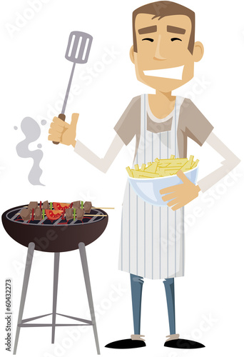 homme moderne barbecue Canvas Print