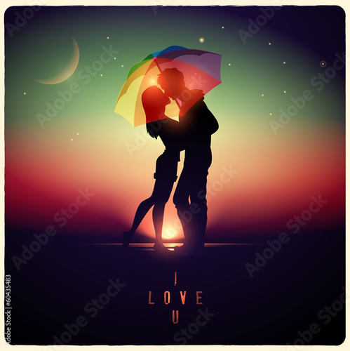 illustration of a couple kissing with a vintage effect - 60435483