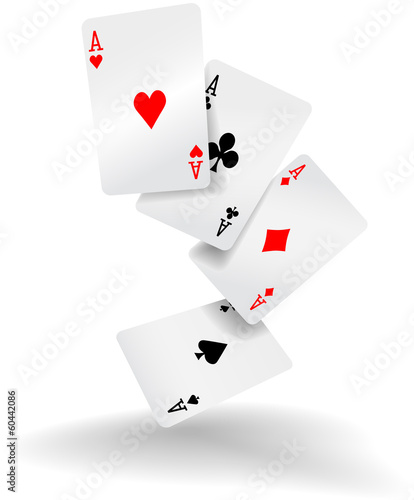 Photo  Playing cards four aces poker hand