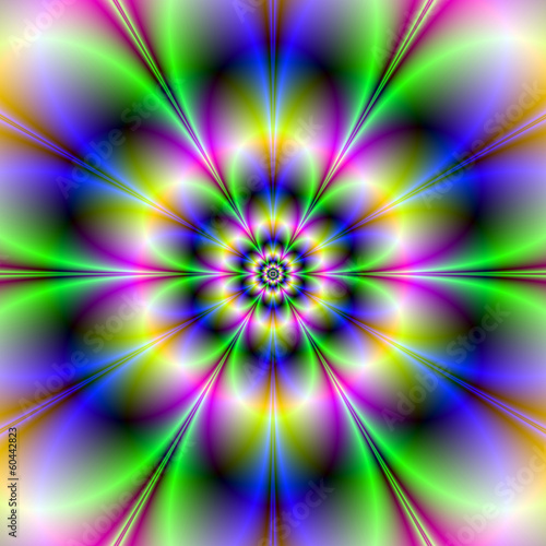 Poster Psychedelic Green Violet and Blue Flower