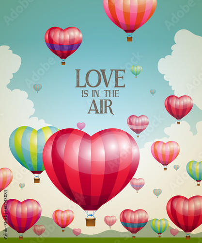 Heart-shaped hot air balloons taking off with a vintage effect - 60443084