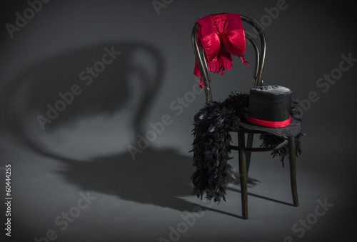 Fotografia, Obraz On retro chair is a cabaret dancer clothing.