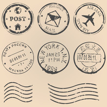 Vector Set Of Postal Stamps On...