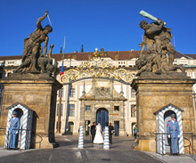 Guard Of Honor At The Gate Of Giants In The Prague Castle