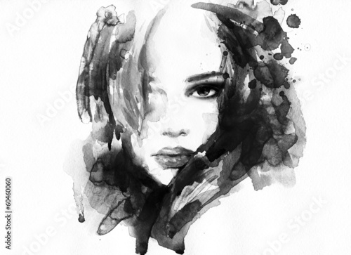 Poster Portrait Aquarelle Beautiful woman face. watercolor illustration