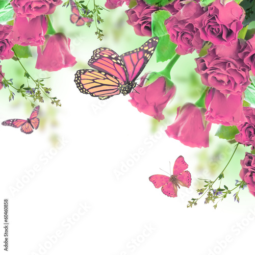 Foto op Canvas Bloemen A bouquet of red roses, floral background and butterfly