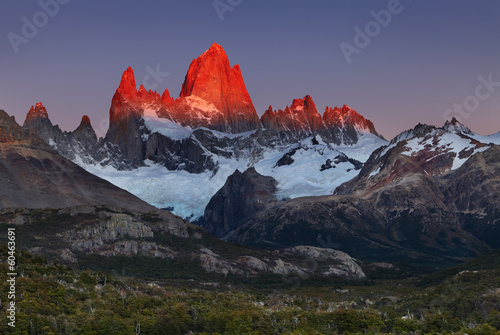Mount Fitz Roy at sunrise, Patagonia, Argentina плакат