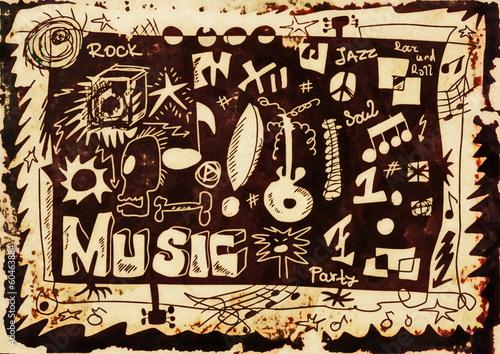 Doodle music background, hand drawn color grunge design elements