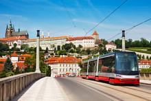 Modern Tram On The Manesuv Most