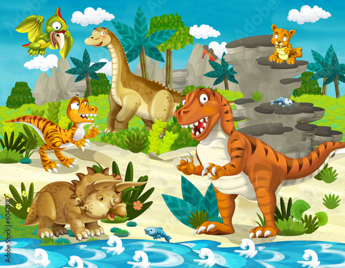 Deurstickers Dinosaurs The dinosaur land - illustration for the children