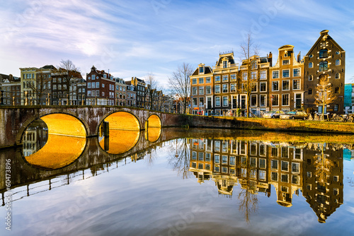 Spoed Foto op Canvas Amsterdam Sunny morning in Amsterdam, Netherlands