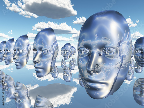 Canvas Print Diembodied faces or masks hover in surreal scene