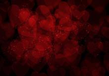 Valentine's Day Dark Red Hearts Background