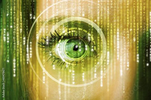 Fotografie, Obraz  Moderní cyber žena s matricí okem