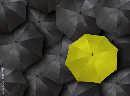 Valokuva  concept for leadership with many blacks and yellow umbrella