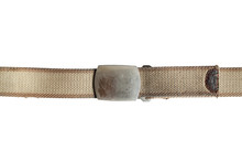 Light Brown Fabric Canvas Belt Isolated On White Background