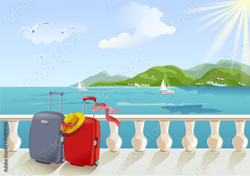 Foto op Canvas Khaki seaside promenade and suitcases