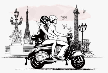 Fototapeta Motor couple on a scooter in Paris