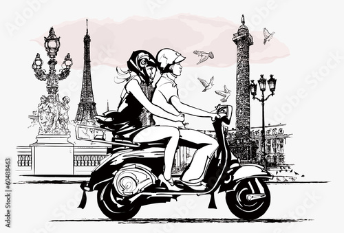 couple on  a scooter in Paris