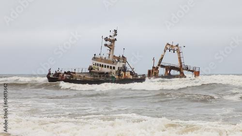 Foto op Canvas Schipbreuk Zeila Shipwreck stranded on 25th August 2008 in Namibia