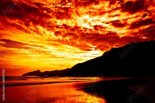 Fotografie, Obraz  Tropical Sunset, Lopes Mendes Beach, Ilha Grande Island, Brazil