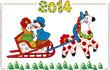 Illustration for new year. Folk art. The horse carries sledge.